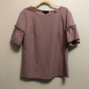 Banana Republic F. Blouse Ruffle Cuff Top Mauve